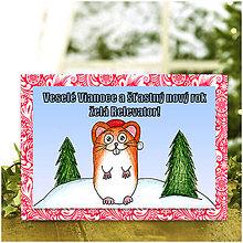 Papiernictvo - Zvieracie Vianoce - vianočná pohľadnica so škrečkom (mrázová) - 5938186_