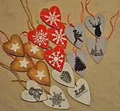 Dekorácie - Vianočné srdiečka sada - 5935661_
