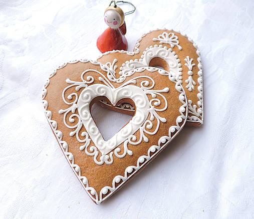 Medovníkové Srdiečko - biele zdobenie