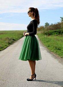 Sukne - Tylová sukňa MIDI tmavo zelená - 5943080_