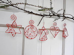 Dekorácie - červené vianoce z drôtu... sada - 5940221_