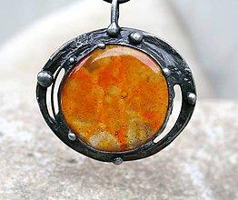 Náhrdelníky - Oranžové sklo prívesok / náhrdelník - 5941927_