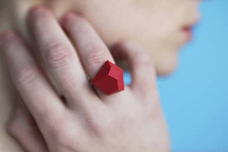 Prstene - Geometrický nastaviteľný | minimal arch | bright red - 5946431_