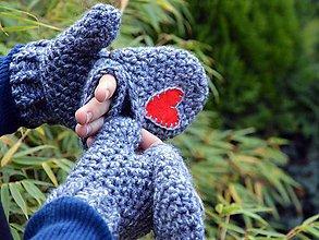 Rukavice - Srdce v dlani...sivé - 5948061_