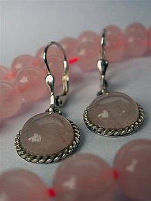 Náušnice - ruženínové s filigránom- Ag 925 - 5945413_
