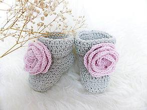 Topánočky - Sivé s ružičkou - 5946171_