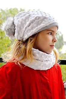 Čiapky - Dámsky zimný set White -alebo farbu si vyber! - 5947410_