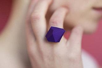 Prstene - Geometrický nastaviteľný prsteň   minimal arch   violet - 5950240_