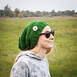 Čiapky - Zelená s gombíkom - 5950845_