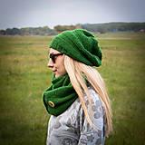Čiapky - Zelený set s gombíkom - 5951144_