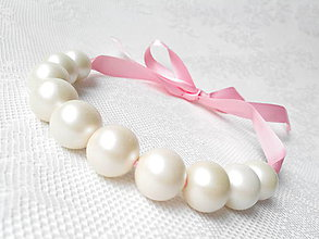 Náhrdelníky - Ružovo-krémový náhrdelník - 5951200_