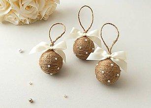 Dekorácie - Vianočné guličky s perličkami (hnedé) - 5948859_