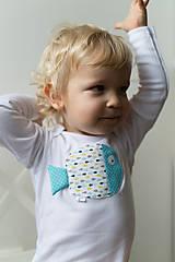Detské oblečenie - body RYBKA Z TYRKYSOVÉHO JAZERA (dlhý/krátky rukáv) - 5952532_