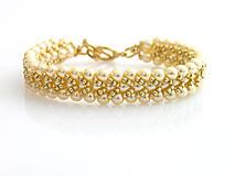 Náramky - Perličkový zlatom pretkaný - 5950467_