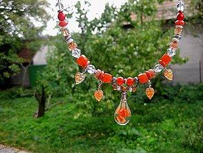 Náhrdelníky - Náhrdelník s kvapkami (Červená kvapka - náhrdelník č.1463) - 5949370_