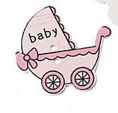 Galantéria - Drevený gombík kočík rúžový - 5952448_