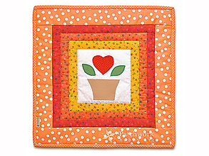 Úžitkový textil - Obliečka na vankúš Srdiečko v kvetináči - 5949430_