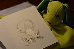- Vyšívaná pohľadnica - sviečka (zlatá) - 5949851_