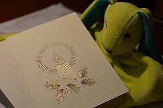 Papiernictvo - Vyšívaná pohľadnica - sviečka (zlatá) - 5949851_