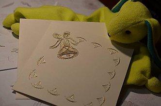 Papiernictvo - Vyšívaná pohľadnica - zvonček (zlatý) - 5949955_