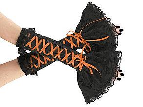 Rukavice - Dámské čierno oranžové rukavice so šnurovaním 1P - 5955971_