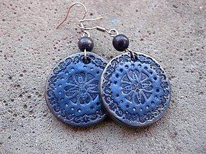 Náušnice - Kruhy (Ozdobné kruhy modré č.1465) - 5955164_