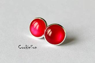 Náušnice - Glamour Red (Napichovačky 12mm) - 5954504_