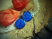 Náušnice - Náušničky s modrým kvietkovým vzorom - 5954089_