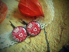 Náušnice - Červené folklórne náušničky - 5954102_