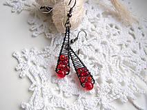 Náušnice - náušnice červeno-čierne - 5959059_