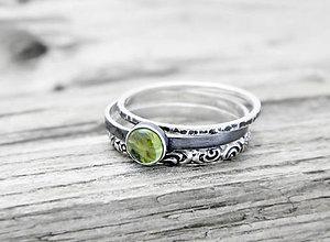 Prstene - 925 sada strieborných prsteňov s olivínom - 5957415_