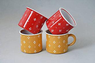 Nádoby - Kafáč 8 cm (4ks) 4puntík žluté a červené 0,3 l - 5960739_