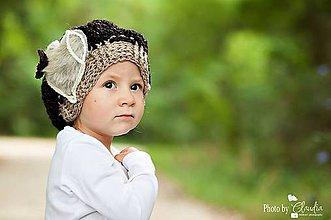 Detské čiapky - Baretka s kožušinovým srdcom - 5957447_