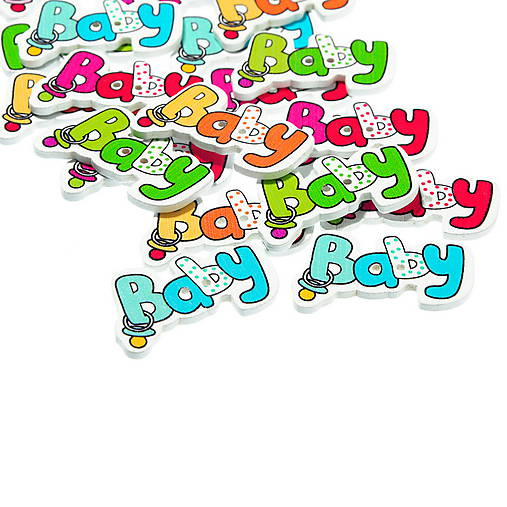 Gombíčky s nápisom BABY (balíček 5ks)