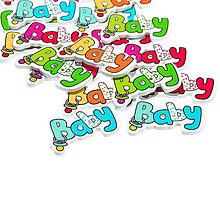 Galantéria - Gombíčky s nápisom BABY (balíček 5ks) - 5956569_