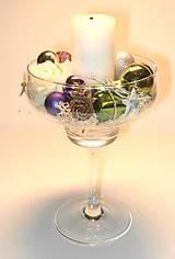 Svietidlá a sviečky - Vianočný svietnik na stopke_Pastelka - 5966862_