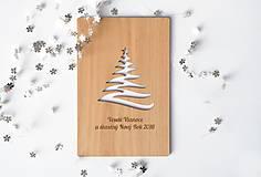 Papiernictvo - Drevená pohľadnica k Vianociam a na Nový Rok - 5964461_