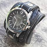 Kožené hodinky čierna-strieborná farba