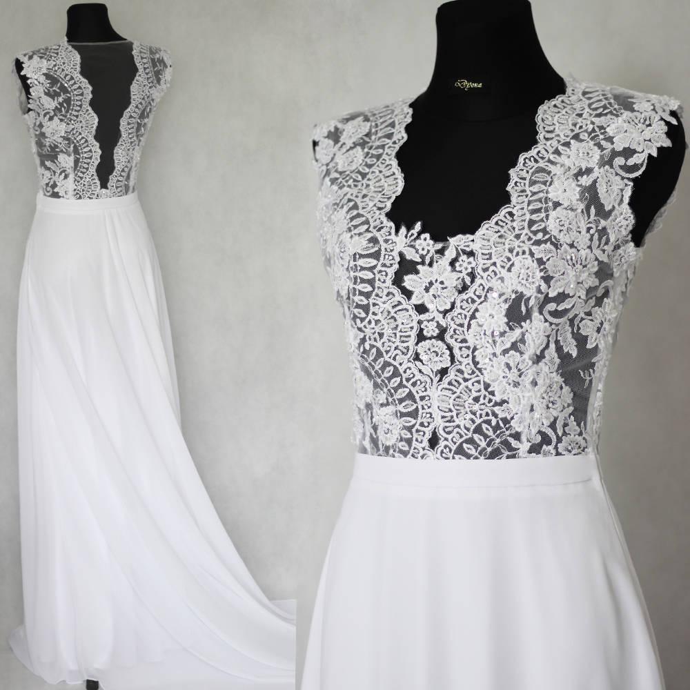 Svadobné šaty s transparentným živôtikom   Dyona - SAShE.sk 8c2bbf3018