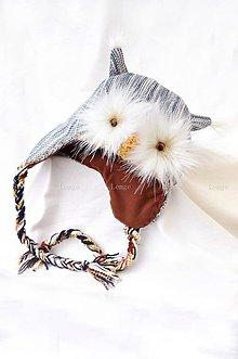 Detské čiapky - Denim sova 3D -  40% !! - 5965389_