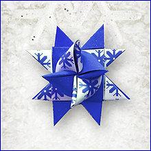 Dekorácie - Vianočné 3D hviezdy z papiera pixelové (vločky) - 5962000_
