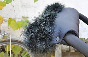 Rukavice - Čierny rukávnik s čiernou kožušinkou - 5968460_