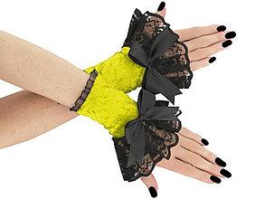 Rukavice - Spoločenské zamatové rukavice čierno žlté 1J - 5970770_
