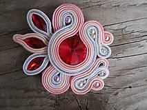 Odznaky/Brošne - Brošňa Fireopal/Siam...soutache - 5969365_