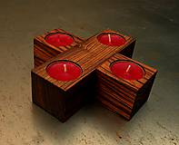 Svietidlá a sviečky - Drevený kríž. Zebrano. - 5970162_