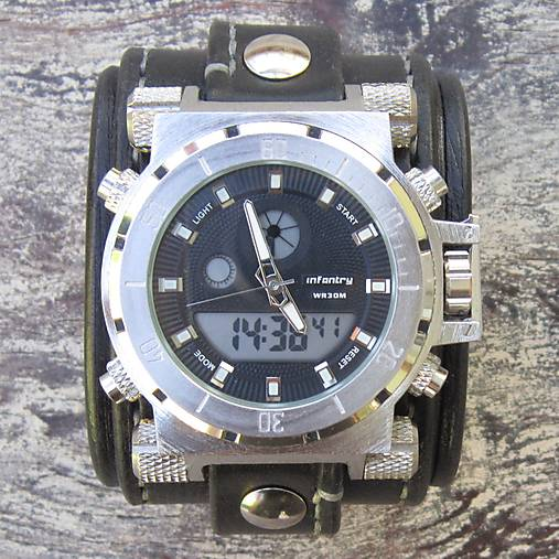 Infantry čierne kožené hodinky   leon - SAShE.sk - Handmade Náramky e4944f3472