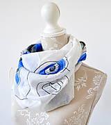Šatky - megašatka biela s modrými kruhmi II - 5967981_