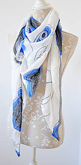 Šatky - megašatka biela s modrými kruhmi II - 5967982_