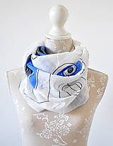 Šatky - megašatka biela s modrými kruhmi II - 5967983_
