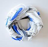 Šatky - megašatka biela s modrými kruhmi II - 5967985_